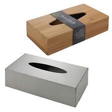 Bamboo Or Brushed Chrome Tissue Hanky Box Holder Dispenser Bathroom Toilet Decor