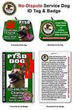 Service Dog ID Tag and Badge PTSD custom photo id for pet customized GREEN