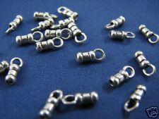 50 pcs QUALITY Sterling Silver CRIMP END CAPS 1mm Hole