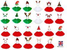 CHRISTMAS TUTU COSTUME Kids Ladies Fancy Dress Xmas Party Outfits Santa NEW UK