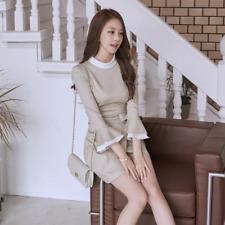 Élégant vestido traje corto beige división de tubo manga larga cómodo 3953