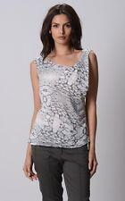 Ladies Barkins Cowl Neck Top sizes 8 10 Colour White Grey Print