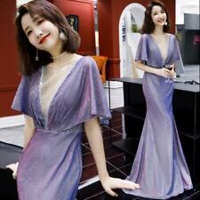 Gorgeous Rhinestones Cape Sleeve Shine Ball Gown Cocktail Banquet Fishtail Dress