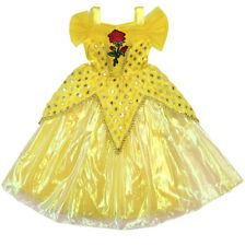 La Bella e La Bestia Vestito Carnevale Maschera Belle Cosplay Child Dress BEAB06
