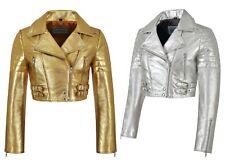 Ladies Biker Metallic Leather Jacket Cropped Short Body Style Real Lambskin 5625