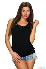 Femmes tank top shirt chemisier métal plaquettes NEUF 34/36/38 fashionbox 24h mm1410