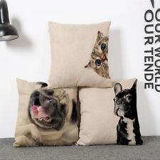 Kissenbezug Hund Katze Kissenhülle Mops Boxer Dekokissen 45x45cm Reißverschluss
