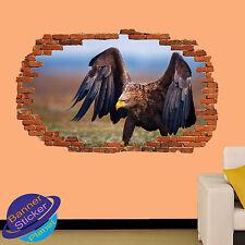 Eagle animales salvajes naturaleza 3D se estrelló Pared Adhesivo Decoración Habitación Arte Calcomanía Mural ZS6