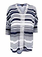 Style & Co. Women's Crochet Trim  Striped Top