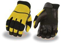 Men's Yellow Leather/Mesh Racing Sportbike Glove w/ Wrist Strap & Flex Knuckles