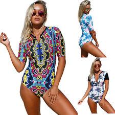 Zip front half sleeve one piece swimsuit swimming pool women summer/beach sexy