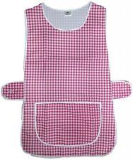 Check rosso, regolabile a casa lavoro Grembiule Tabbard tasca ampia chiusura con bottone