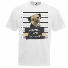Mens White Dog Mugshot Scruffy Boarder Terrier T-Shirt Criminal K9 TShirt