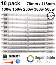 10 x Linear Tungsten Halogen Security 100w 200w 300w 500W R7S 118mm 78mm 240v
