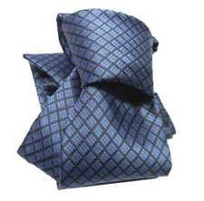 CRAVATTA a quadri UOMO TOP CLASS seta SILK azzurro blu MADE ITALY 8CM