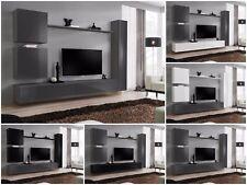 Modern Wall TV Display Unit High Gloss SWITCH VIII Graphite Push-Click Free P&P