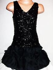 GIRLS 20s STYLE SPARKLING BLACK SEQUIN CHIFFON PETALS DANCE BALL PARTY DRESS