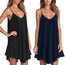 Women Summer Beach Dress Sling Loose Plicated Short Mini Dress Plus Size S-6XL