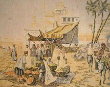 Vintage French Tapestry Mediterranean Africa Market Scene, Donkey, Camel, Port