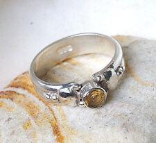 Handarbeit Ring Silber 58 Citrin Gelb Gold Silberring Modern Verspielt Schmal