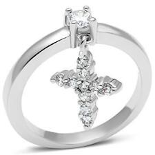 w293 charm ring cross dangle solitaire simulated diamonds rhodium clear designer