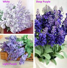 10 Heads Artificial Lavender Flower Leaves Bouquet Home Wedding Garden Decor
