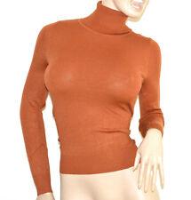 PULL-OVER MARRON femme maillot manches longues cou haut roulé chandail G4