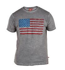 MANHATTAN D555 USA Flag Print Oil Wash T-Shirt