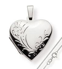 Medaillon925 Silber Herzzum öffnen für Bildereinlage/ 2 Fotos Amulett verziert