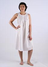 Jessie Ladies Cotton Sleeveless Nightgown/Sleepwear/Nightie with Blue Smocking