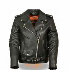 WOMENS PREMIUM COWHIDE LEATHER MOTORCYCLE JACKET w/ GUN POCKETS - SA77
