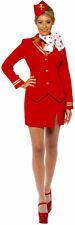 Smi - Karneval Damen Kostüm sexy Stewardess rot Flugbegleiterin