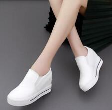 Women Platform Hidden Wedge Loafers Sneakers Slip On High Heels Shoes Trainers #