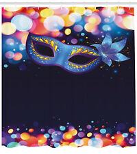 Venice Shower Curtain Vivid Blue Carnival Mask Print for Bathroom