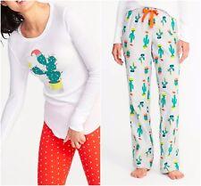 Cactus Flannel Pajama Outfit Sleep Wear Christmas Santa Cacti Pants Thermal Tee