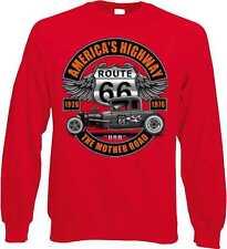 Felpa in Rosso Con Una Auto Sportiva-,US Car & `50 Disegno-Stile Modello Route
