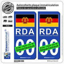 2 Stickers autocollant plaque immatriculation Auto : Allemagne - Drapeau RDA