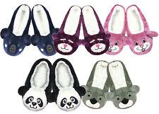 Ladies Girls Fun Novelty Character Animal Warm Cosy Non Slip Ballerina Slippers