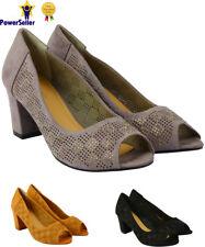 New Women's Ladies Low Block Heels Open Toe Weddings Diamante Party Court Shoes