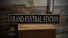 Grand Central Station Sign -Primitive Rustic Hand Made Vintage Wooden ENS1000263