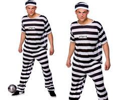 Mens Prison Break Convict Costume Adult Prisoner Stag Do Fancy Dress S-XL