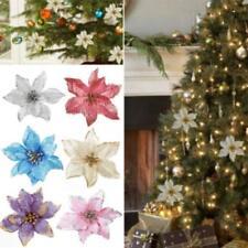 8pc Xmas Tree Ornaments Santa Artificial Glitter Flower Christmas Party Decor JA