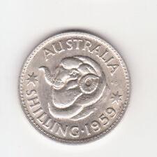 1959 Australian Silver 1/- Shilling QUEEN Elizabeth II  (very Nice)