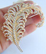 """Pin Pendant Rhinestone Crystal Bp05065 3.35"""" Pretty Leaf Feather Brooch"""