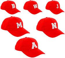Infantil Escuela Rojo Gorra Béisbol NIÑO NIÑA AJUSTABLE Sombrero Letras A-Z la