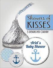 Custom BLUE NAUTICAL Chevron Hershey Kiss Labels-Anchor-Boy Baby Shower Favors