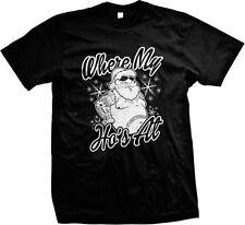 Where My Ho's At Santa Claus St Nick Christmas Funny Humor Swag Mens T-shirt