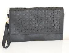 BORSELLO NERO donna borsa pelle a mano a spalla tracolla borsetta fiori sac Z21