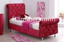 RED CRUSHED VELVET SLEIGH UPHOLSTERED BED FRAME  DIAMOND 6 COLOURS AVAILABLE