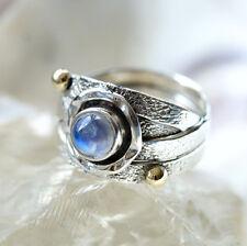 Handarbeit Ring Silber 56 Mondstein Weiß Blau Silberring Verspielt Vergoldet